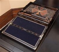 Sale 8934H - Lot 88 - An Anglo Indian coromandel and other timber inlaid writing slope with secret drawer, Height 14cm x Width 42cm x Depth 23cm
