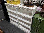 Sale 8988 - Lot 1046 - White Painted Open Shelves (H:120 W:137 D:39cm)