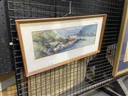 Sale 9082 - Lot 2025 - J.G Brown, Ferry & Sailing Boats in the Bay, watercolour (AF - foxing to mount), frame: 23 x 46 cm, signed lower right -
