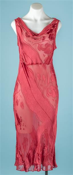 Sale 9092F - Lot 66 - A DEBORAH HILL SILK COWL NECK DRESS; in burgundy with floral patterns, Size 14