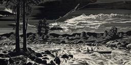 Sale 9150 - Lot 590 - CEDRIC EMANUEL (1906 - 1995) - Evening Canoeing on the Shoalhaven River 29 x 58.5 cm (frame: 88 x 58 x 2 cm)