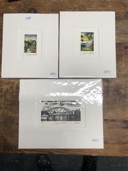 Sale 9147 - Lot 2057 - Yngvar Stroem-Hansen (three works) Bridge to Opera House, Sydney Harbour & Cool Sydney handcoloured wood cuts, editioned, Mounted/...