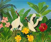 Sale 8606 - Lot 522 - Milan Todd (1922 - ) - Spring Dance (Red Head Cranes) 73 x 90cm