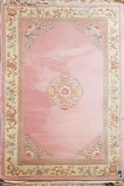 Sale 8676 - Lot 1180 - Pink & Cream Tone Chinese Wool Rug (285 x 180cm)