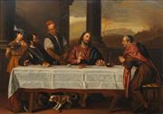 Sale 8683 - Lot 547 - Attributed to Nicolas Verkolje (1673 -1746) - Supper at Emmaus (After Titian) 35.5 x 50.5cm