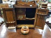 Sale 8714 - Lot 1048 - Oak Smokers Cabinet, with two doors & fitted interior (key in office)