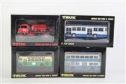 Sale 8827T - Lot 670 - Trux 1:76 Scale Replica Aussie Big Rigs & Buses (4) incl. Late 1940s Chevrolet Blitz Wagon Fire Fighting Tanker