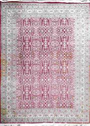 Sale 8917 - Lot 1009 - Large Hereke Wool Carpet, with floral arabesques and festoons a burgundy ground, with cream border - copy of original invoice in off...