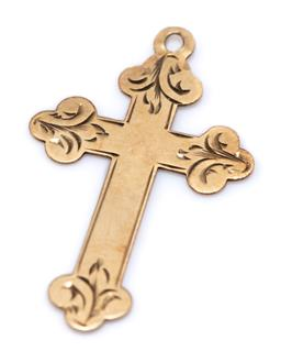Sale 9169 - Lot 306 - AN 18CT GOLD CRUCIFORM PENDANT; size 28.6 x 17.3mm, wt. 0.79g, missing pendant bow.