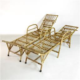 Sale 9252AD - Lot 5077 - VINTAGE BAMBOO SUNLOUNGES, 1970s: relax and recapture Slim Aaron poolside vibes in a rare pair of vintage cane lounges (l.220, w. 54...
