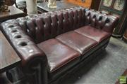 Sale 8317 - Lot 1031 - Burgundy Leather 3 Seater Chesterfield Lounge by Classic Chesterfield Australia