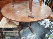 Sale 8416 - Lot 1055 - Georgian Elm & Oak Round Wine Table, with tilt-top & gun barrel pedestal
