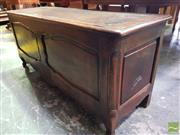 Sale 8485 - Lot 1079 - Antique French Walnut and Oak Coffer, with hinged top & shaped panels