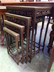 Sale 8576 - Lot 1092 - Chinese Rosewood Nest of Four Tables, with grape vine frieze & shaped legs