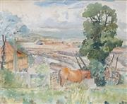 Sale 8713 - Lot 591 - William Torrance (1912 - 1988) - Roma Street Goods Yard 24.5 x 31cm