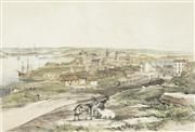 Sale 8732A - Lot 5042 - John Skinner Prout (1805 - 1976) - Millers Point, Sydney, from Flag Staff Hill 18 x 26.5cm