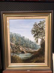 Sale 8797 - Lot 2012 - Joyce Garner - Pulpit Rock Glenbrook, Oil, 50x40cm