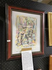 Sale 8906 - Lot 2057 - Wallace Thornton - Nude Study, Pencil and Ink on Paper