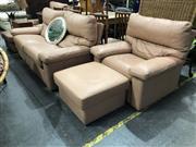 Sale 8934 - Lot 1067 - Five Piece Parker Pale Leather Lounge Suite