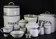Sale 8944 - Lot 79 - Large Collection of Vintage Enamel Kitchenwares incl Storage Tins, Billy, Pan, Pail, Candlesticks etc