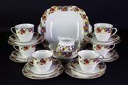 Sale 8968 - Lot 72 - Aynsley Tea Setting for Six Consisting of Cake Plate, Sugar & Creamer, Cups, Saucers, Plates