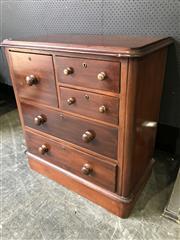 Sale 9031 - Lot 1094 - Edwardian Kauri Pine Chest of Five Drawers, of unusual asymmetrical configuration (H:96.5 x W:90 x D:46cm)