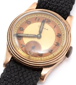Sale 9149 - Lot 391 - A VINTAGE 9CT GOLD CYMA WRISTWATCH; 2 tone dial, subsidiary seconds, Arabic numerals, 15 jewel cal. 415 manual wind movement, case d...