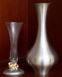 Sale 9155H - Lot 38 - A pewter vase together with a metal based bud vase. Height of taller 23cm