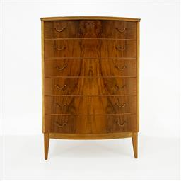 Sale 9252AD - Lot 5055 - DANISH WALNUT BOWFRONT 6-DRAWER TALLBOY,1940s: elegance and craftsmanship showcased in continuous matching grain detail and classic...