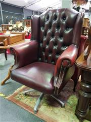 Sale 8657 - Lot 1014 - Buttoned Back Office Chair over Modern base