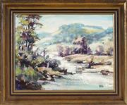Sale 9045 - Lot 2042 - Mario Ermer (1942 - ) - Hunter Valley Landscape 18.5 x 24 cm (frame: 27 x 32 x 4 cm)