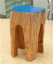 Sale 9066H - Lot 124 - A pair of teak tree trunk bedside table with blue painted tops. H 43cm.