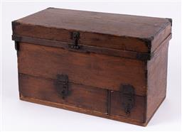 Sale 9199J - Lot 75 - Japanese elm box, the hinged lid revealing a cavity over one long and one short drawer, Height 39cm x Width 66cm x Depth 35cm