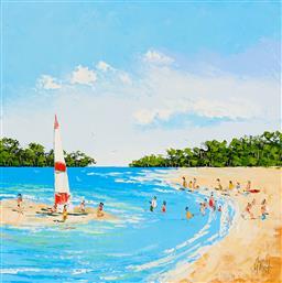 Sale 9212A - Lot 5070 - KYM HART (1965 - ) Beach Days oil on canvas 30.5 x 30.5 cm (frame: 34 x 34 x 6 cm) signed lower right
