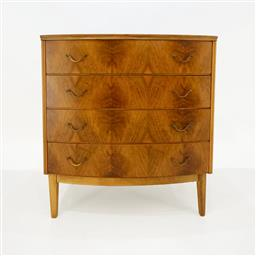 Sale 9252AD - Lot 5056 - DANISH WALNUT BOWFRONT 4-DRAWER LOWBOY, 1940s: h. 84.5, w. 78, d. 44 cm)
