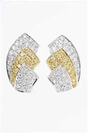 Sale 8299J - Lot 331 - A PAIR OF 18CT WHITE GOLD DIAMOND AND SAPPHIRE EARRINGS; three plaque design pave set with a total 54 round brilliant cut diamonds a...