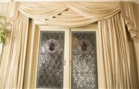Sale 8392H - Lot 4 - A pair of shot silk champagne curtains with swag pelmet, approx drop 270cm