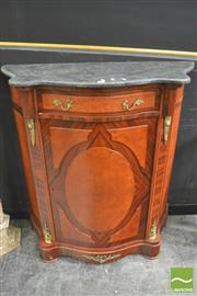 Sale 8392 - Lot 1003 - Serpentine Front Marble Top Cabinet (Key in Office)