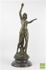 Sale 8516 - Lot 11 - Bronze Art Noveau Lady Figural Sculpture Signed Raoul Larche