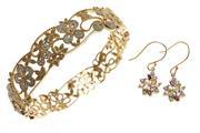 Sale 8664 - Lot 315 - A SILVER GILT DIAMOND BANGLE AND GEMSET EARRINGS; hinged bangle set with single cut diamonds, diam. 58mm, earrings set with blue top...