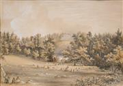 Sale 8754 - Lot 2047 - J H Burgess (C19th) - View to Norbury House, Surrey, 1858 27 x 38.5cm