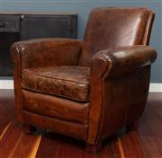Sale 8904H - Lot 54 - A full leather club chair in the deco style. Height of back 85cm x Width 85cm x Depth 78cm