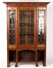 Sale 9048A - Lot 6 - Art Nouveau oak Lead Light Front bookcase/display cabinet with mottoChoose an author as you choose a friend  Shapland & Petter (h...