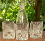 Sale 9071H - Lot 80 - A clear glass decanter and five crystal tumblers