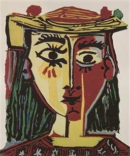 Sale 9108A - Lot 5004 - Pablo Picasso (1881 - 1973) - Bust of a Woman with Hat 43 x 30 cm (sheet)