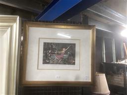 Sale 9111 - Lot 2015 - Mychaels I Live the Life I Love and I Love the Life I live handcoloured aquatint, ed 48/100, frame: 48 x 51 cm,