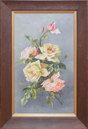 Sale 8368A - Lot 56 - Australian School	 - Still Life, Roses 50 x 29 cm