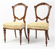 Sale 8620A - Lot 66 - A set of 6 antique English carved walnut chairs c. 1875. The balloon backs crest and ribbon carved to relief carved lobes. The shape...