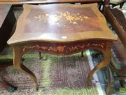 Sale 8634 - Lot 1049 - Small Louis XV Style Marquetry Occasional Table, the recantgular top & apron inlaid with tied bouquet of flowers, raised on cabriole...