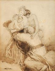 Sale 8753 - Lot 2031 - Alfred Edward Chalon (1780 - 1860) - Figure Group 38 x 29cm